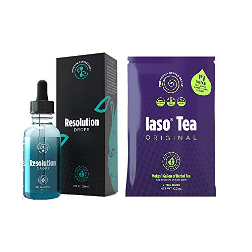 Resolution Drops for Weight Loss with 1 Pack of IASO Herbal Detox and Cleanse Tea Bags (2 Count) - Powerful Weight Management (Total Life Changes)