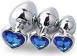 Osye 3PCS Stainless Steel Heart Ànâles Trainer Kit-Jewelry Bûtt Pl'ugs Beads Massager Jewele Back Foot Massagers-Deep Blue