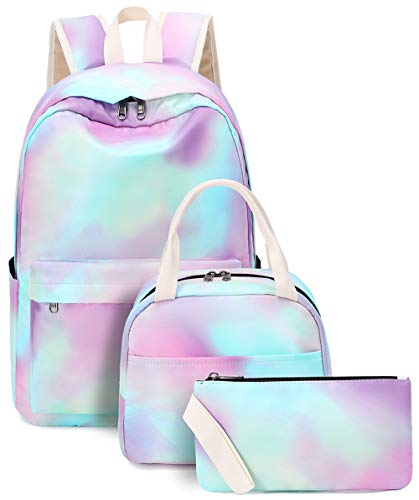 Bookbag Girls Tie Dye Rainbow School Backpack Cute Schoolbag fit 15inch Laptop Insulated Lunch bag for Teens Boys Kids Travel Daypack