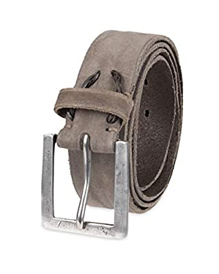 John Varvatos Leather Belts for Men Dress Casual for Jeans, Grey, 34