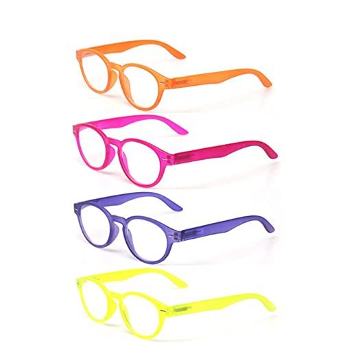 Gafas de Lectura, 4 Empaquetas de Lectura de Paquetes, bisagra de Primavera de Marco Transparente for Hombres, Mujeres, HD Dioptría del Lector 0 ~ + 3 (Color : +1.5, Size : 4 Pack Mix Color)