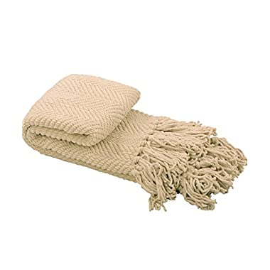 Home Soft Things BOON Knitted Tweed Throw Couch Cover Blanket, 50  x 60 , Oatmeal