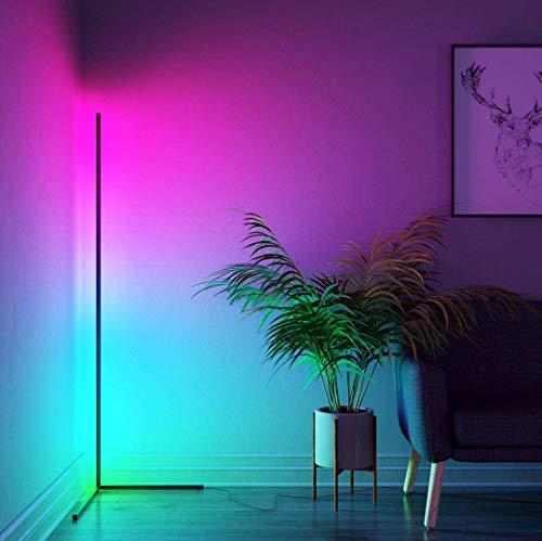 JZLPY Lámpara de pie de rincón de Cambio de Color Minimalista Minimalista LED Nordic Multicolor con (Negro + Remoto, 55'Altura)