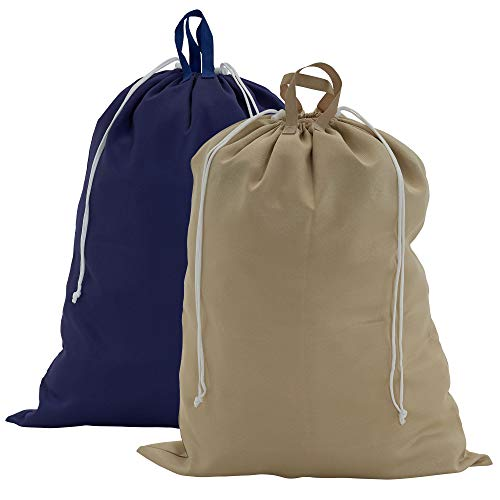 Product Image of the Household Essentials 136-1 Set of 2 Large Laundry Bags with Handles and Drawstring, Blue and Beige /2 Pack