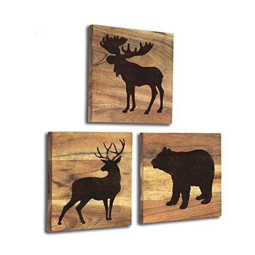 Home Rustique Wooden Cabin Decor with Bear, Deer and Moose - Woodland Themed Rustic Wall Decoration for Log Cabin, Hunting or Mountain Lodge