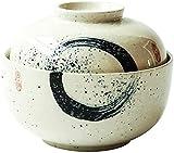 okuya Cuencos de postre Cuenco de ramen de cerámica de estilo japonés con tapa Home Retro Fruit Ensalada Sopa Sopa Cubiertos creativos Ensaladeras