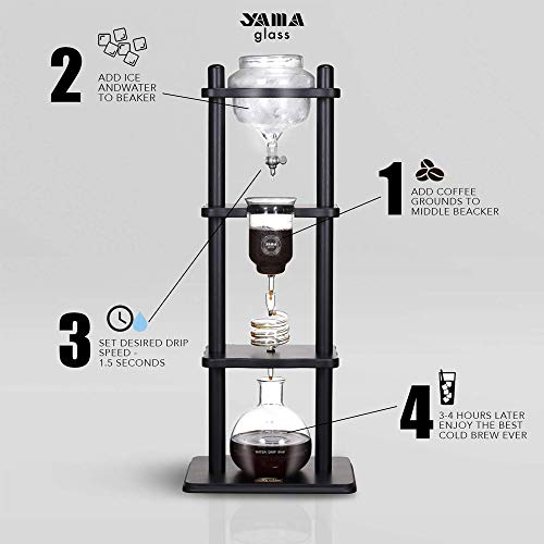 Yama Glass YAMCDM8SBK Coffee Tower with Iced Slow Drip Technology, 6-8 Cup Cold Brew Maker, Black