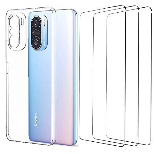 Pnakqil Funda Xiaomi Redmi Note 10/Redmi Note 10S 4G, con [3 Pack Cristal Templado Protector de Pantalla], Flexible TPU Silicona Protector Carcasa Compatible Redmi Note 10S 4G 6.43' - Transparente