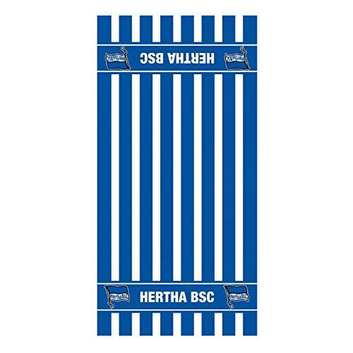 Hertha BSC Baumwoll Frottee Duschtuch 70x140cm Streifen blau Lizenz Fanartikel