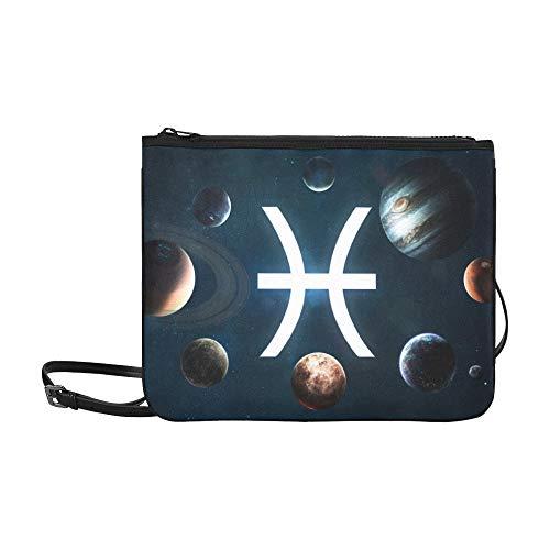 WYYWCY Sternzeichen Sternzeichen Fische Muster Benutzerdefinierte hochwertige Nylon Slim Clutch Crossbody Tasche Umhängetasche