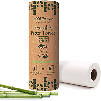 Bamboo Reusable Paper Towels (30 Sheets) Zero Waste Unpaper Towel Eco Friendly Products Sustainable Gifts - Kitchen Cleaning Rolls Alternative - Paper Towels Bulk Recycled Washable Napkins Cloth