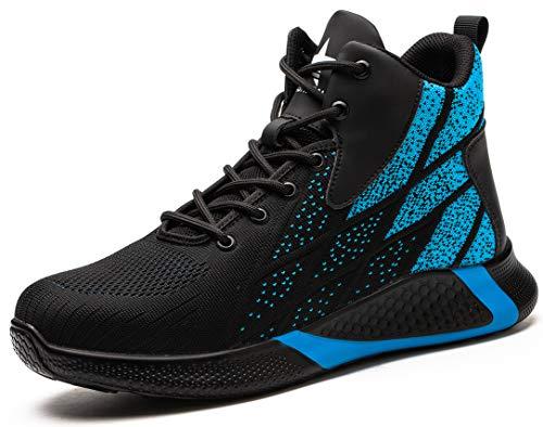 SUADEX オシャレ安全靴ハイカットブルー あんぜん靴ブーツ ミドルカット作業靴 ショートブーツ 安全 作業はいカット 安全半長靴 鋼先芯 耐摩耗 ケブラー防刺 耐滑