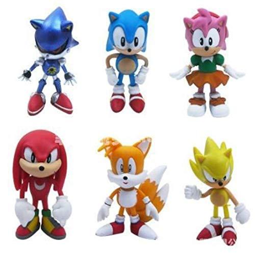 XINKANG Sonic Cartoon Juguetes 6 Unids / Set Super Sonic Figura De Acción Knuffel Amy The Hedgehog Tails Metal Sonic Figura Plástico Modelo Niños Pastel De Cumpleaños Figura Modelo Juguetes