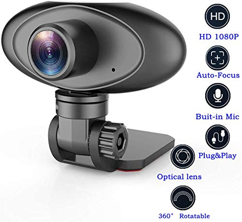HD 1080P Webcam Noise Reducing Microphone Auto Focus Widescreen Rii RC100 USB Computer Desktop Camera for Video Calling Streaming Recording Conferencing Gaming 360° Rotat Low-Light Correction