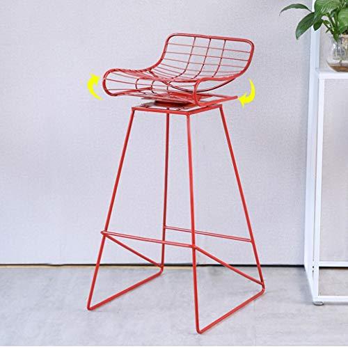 XINGING Jieba Simple Bar Chair Taburete de Bar de Hierro Forjado Taburete Alto Silla de Comedor Moderna Wire Silla de Ocio Nordic Bar Chair (Color : Red)