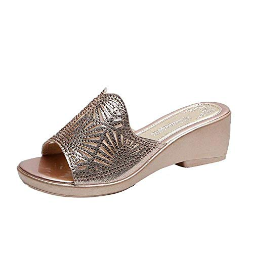 FYSY Chanclas de aspecto genial, para mujer, tacón medio, zapatos de madre con diamantes de imitación, sandalias doradas_37, sandalias de ducha, zapatos fangkai77
