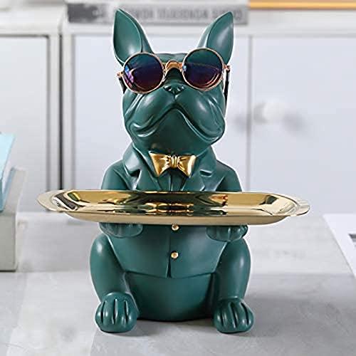 Raffreddare Bulldog Scultura Statua francese con vassoio in acciaio inox, statua, decorazione da tavolo, moda, tessile per la casa, multifunzione, archiviazione scrivania ( Color : Green )