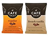 Café Valet Single Serve Individually Wrapped Coffee Packs, Regular Dark Roast and French Vanilla Flavor 100% Arabica Coffee, 168 Count