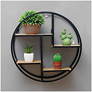 Round Display Stand Rustic Floating Shelves Wall Mounted Storage Shelves for Bedroom Living Room Kitchen Bathroom