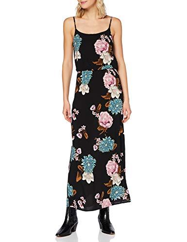 ONLY Damen Onlnova Life S/L Maxi Dress AOP WVN 11 Kleid, Black, 42