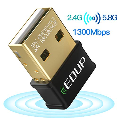 EDUP USB WiFi Adapter for Laptop PC AC 1300Mbps Nano Wireless Network Card Wi-Fi Dongle Dual Band 2.4G 5.8G 802.11AC Support Windows 10/7/ 8.1/ XP/Vista/Linux/Mac OS 10.6-10.14