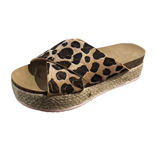 DressLksnf Sandalias Mujer Plano Alpargatas Cuña Plataforma Chanclas Verano Playa Zapatillas de Cinturón Cruzado Punta Abierta Tacón Oro Leopardo