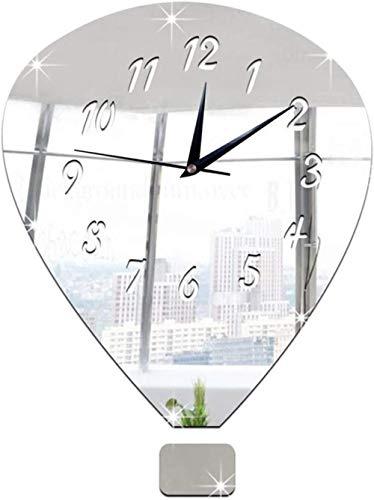Orologio da parete Clode 30x40cm 3D Orologio da parete con specchio a palloncino fai-da-te Orologio da parete decorazione set di adesivi effetto specchio decalcomanie in vetro acrilico decorazione r