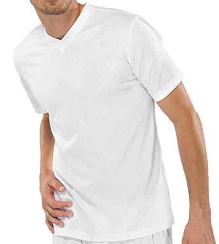 Schiesser 2 Stück American T-Shirt V-Ausschnitt Herren T-Shirt V-Neck - Weiß: Größe: L (Gr.6)