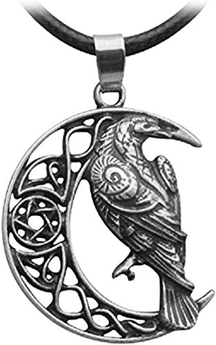 huangxuanchen co.,ltd Raven Necklace - Viking Celtic Raven Pendant - PU Leather Cord
