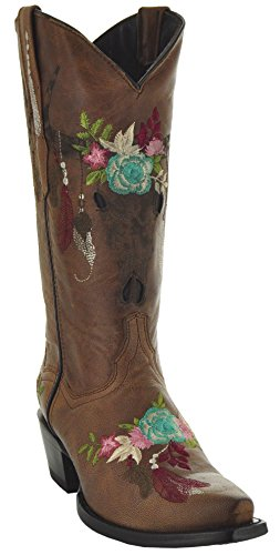 Soto Boots Longhorn Women's Fashion Cowgirl Boots M50029 (7) Tan