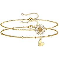 Iefshiny 2 Piece Layered Letter Anklet with Daisy Charm Initials