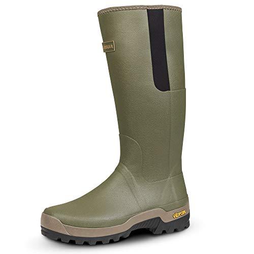 Härkila - Stivali in gomma da caccia con rivestimento in neoprene da 3 mm, suola antiscivolo Vibram, Verde (Willow Green), 43 EU
