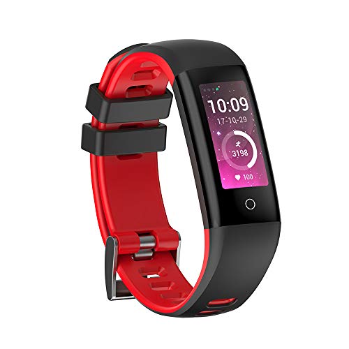 CURREN Fitness Tracker HD Screen Activity Record Pedometer Calorie Counter Heart Rate Blood Pressure Sleep Monitor Color Band Smart Bracelet Android iOS Bluetooth Watch for Women Men (red)