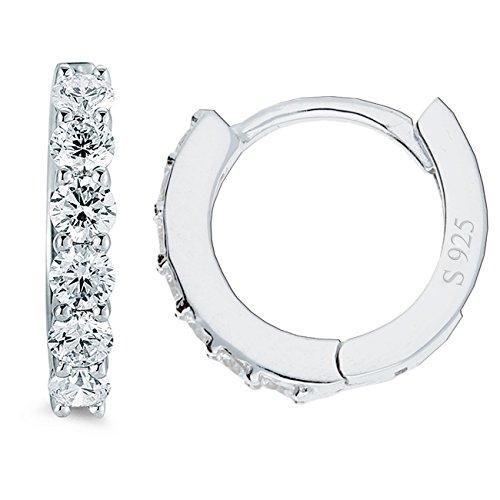 MYA art Damen Creolen aus 925 Silber mit Zirkonia weißen Strass Steinen Ohrringe Rund Klein Schmal 13mm MYASIOHR-17