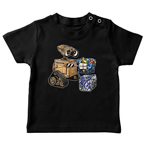 T-Shirt bébé Noir Parodie Star Wars - Wall-E - Wall-E, Goldorak et R2-D2 - La Grosse boulette. : (T-Shirt de qualité Premium de Taille 24 Mois - imprimé en France)