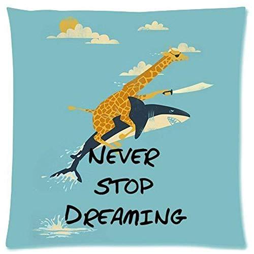 Leisure-Time (Lati gemelli) Giraffa che Guida lo squalo Non smettere MAI di sognare Federa quadrata con cerniera