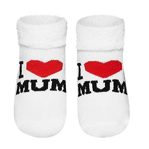 Sevira Kids – Calcetines para bebé de algodón rizado – I love Mom