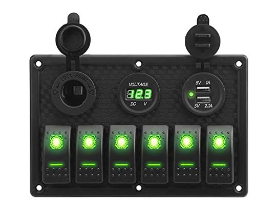 LESANGBAIHUODIAN Voltímetro Digital Impermeable Doble USB Puerto USB 12V Combinación de Salida de automóvil Marinos LED LED Interruptor de Interruptor (Color : 6 Gang Green)