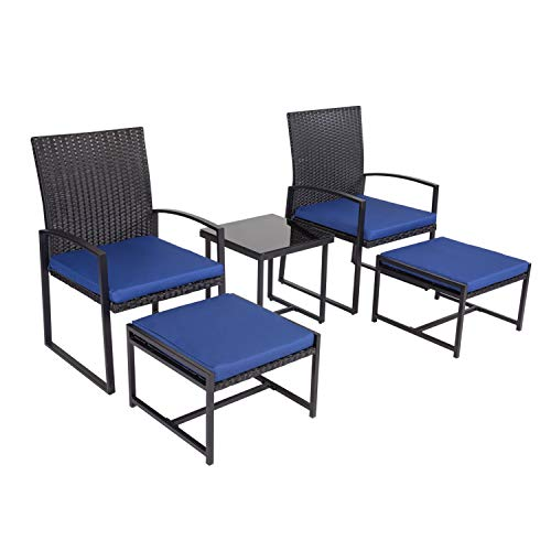 J-SUN-7 Kinsunny Wicker Patio Furniture 5 Piece Patio Set Chairs Bistro Set Outdoor Rattan Conversation Set with Ottoman Set and Glass Coffee Table for Backyard Porch Poolside Lawn