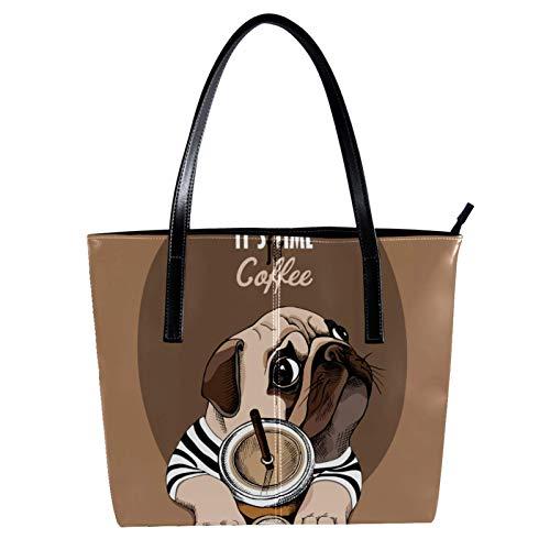 Süße Mops Hund mit Kaffeetasse Damen PU Leder Mode Handtasche Top-Griff Schultertaschen Totes Geldbörsen