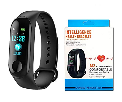 M3 Intelligence Bluetooth Health Wrist Smart Band Watch Monitor/Smart Bracelet/Activity Tracker/Smart Fitness Band Compatible for All Androids and iOS Phone/Tablet