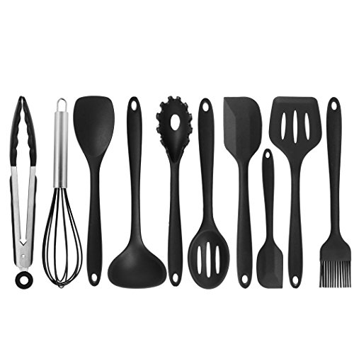 10Pcs/set Kitchen Vegetable Daily Useful Cooking Tools Non-Stick Utensils Pasta Fork Spoonula Tong Slotted Spoon (Black)