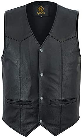 K Sports Men's Motorbike Club Style Classic Genuine Leather Vest With Brass Buttons & Polyester Lining-4XL