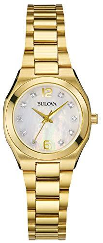Bulova Diamanten Galerij Dames Quartz Horloge met Moeder van Parel Wijzerplaat Analoog Display en Goud RVS Armband 97S109