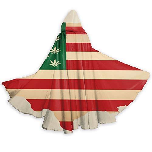 TYHG - Capa unisex con capucha para Halloween, juego de roles, con mapa de bandera de Estados Unidos, con hoja de marihuana, disfraz de fiesta de Navidad, para mujeres, hombres, cosplay