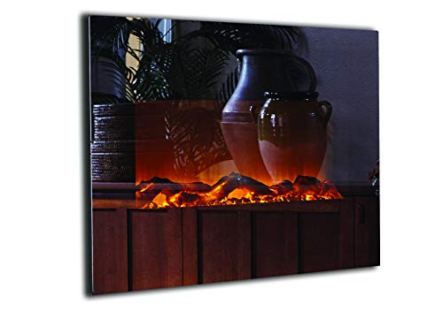 Touchstone 80008 - Onyx Electric Fireplace - (Mirror) - 50 Inch Wide – On Wall Hanging - 5 Flame Settings - Realistic Flame - 1500/750 Watt Heater - Log & Crystal Included – Timer & Remote