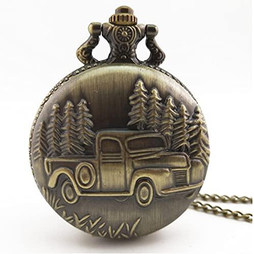 XIXIDIAN Reloj de Bolsillo, Reloj de Bolsillo mecánico Antiguo para Hombre, Reloj de Cuarzo de Regalo de camión de Bronce