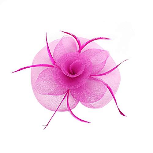 Stuukj Elegante Bloem Veer Hoofdband Hoed Fascinator Bruiloft Hoofddeksels Mesh Veren Haar Clip voor Royal Ascot(Hot Pink)