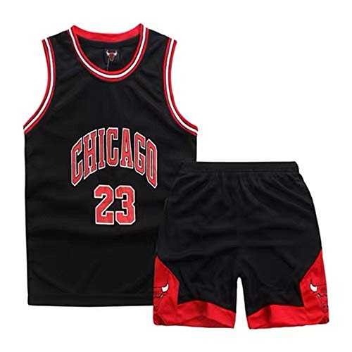 Demino Chicago Bulls # 23Jordan Basket, Maglie Bambini,Pantaloncini da Basket Abbigliamento Basket Uomo Completo Sportivo Uomo (Nero, S (120-130 CM))