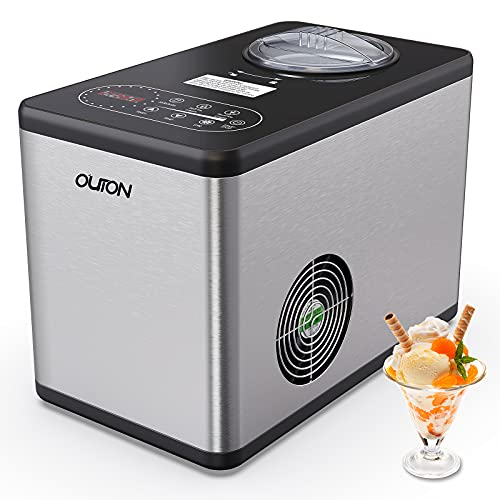 Ice Cream Maker,Outon 1.6 Quart Automatic Ice Cream Machine with 3 Working Modes,LCD Display,Built-in Compressor & Without Pre-Cooling,Stainless Steel,Easy to Use & Clean & Store